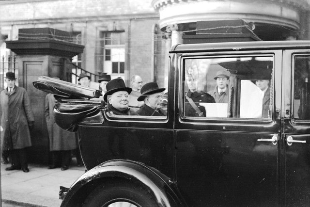 """Winston Churchill pictured during a """"mystery"""" visit to the North East in 1941. But where was he - Sunderland?"""