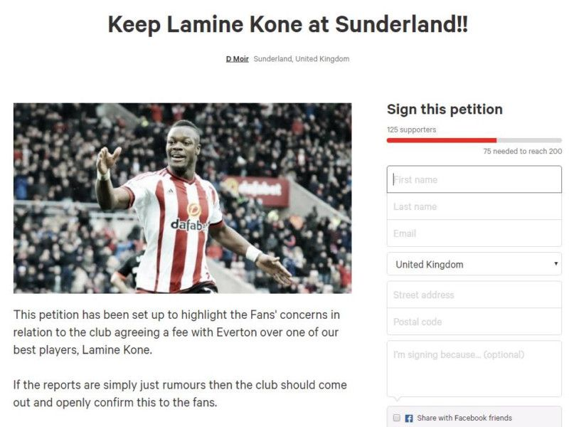 Petition launched by Sunderland fan to 'Keep Kone