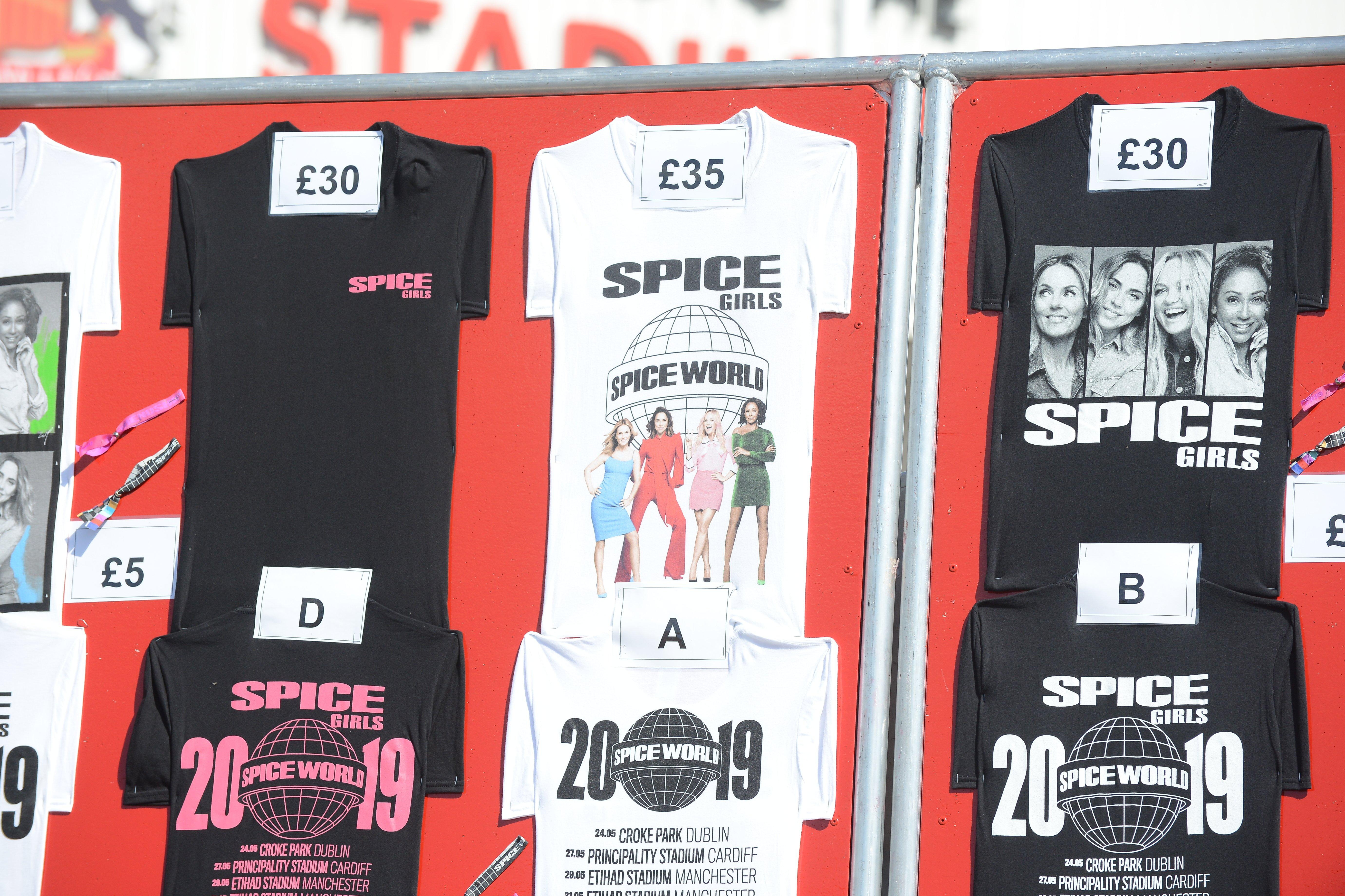 339a02153 Merchandise prices at the Stadium of Light Spice Girls concert ...
