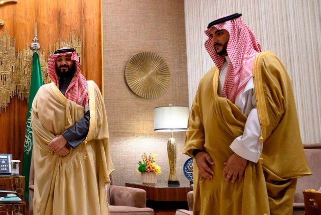 Saudi Arabia's Crown Prince Mohammed bin Salman (L) and Saudi Deputy Defence Minister Khalid Bin Salman await ahead of their meeting with the US Secretary of State at Irqah Palace in Riyadh on February 20, 2020.