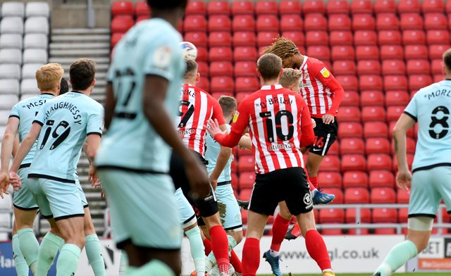 Dion Sanderson heads Sunderland into the lead at the Stadium of Light