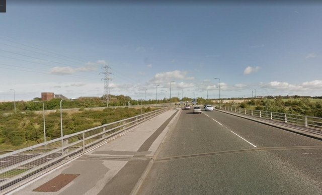 The crash happened on the round about which links the A19 with the A182. Image copyright Google.