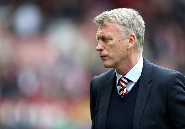 David Moyes, Manager of Sunderland looks on during the Premier League match between Sunderland and Swansea City at Stadium of Light on May 13, 2017 in Sunderland, England.