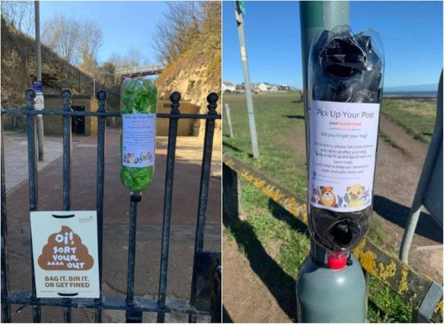 Poo bah holders have been placed on fences in the area