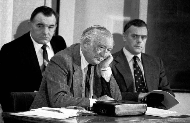 """Picture dated 26/06/1979 of West Yorkshire's Assistant Chief Constable, Mr George Oldfield, at a police theatre at Wakefield, listens to an eerie tape recording of the man thought to be the """"Yorkshire Ripper"""", which turned out to be Wearside Jack hoaxer John Humble. Picture by PA"""