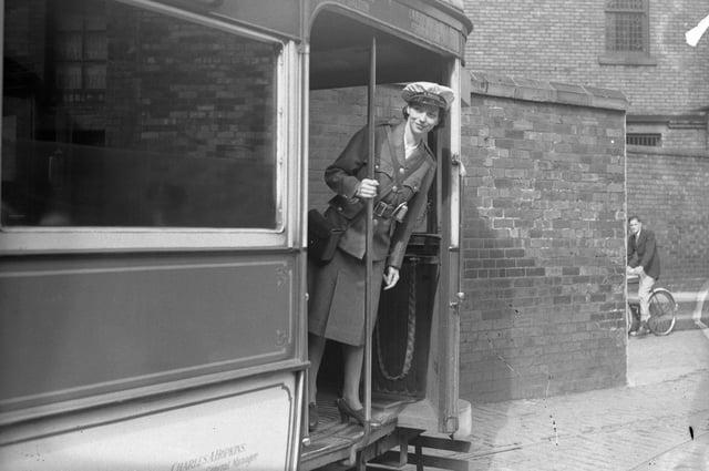 A Sunderland tram worker in July 1940.