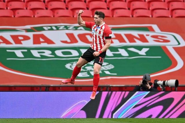 Lynden Gooch celebrates his goal at Wembley