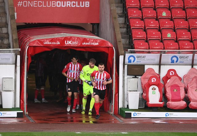 Sunderland captain Max Power leads his team out of the tunnel before the Sky Bet League One match between Sunderland and Blackpool at Stadium of Light.