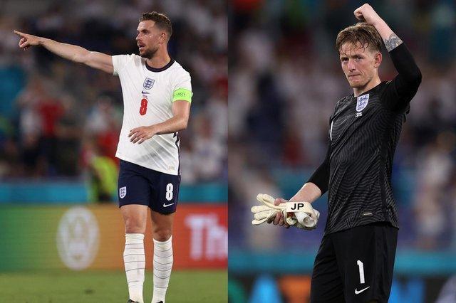 England stars Jordan Henderson, left, and Jordan Pickford. Pictures: Getty Images.
