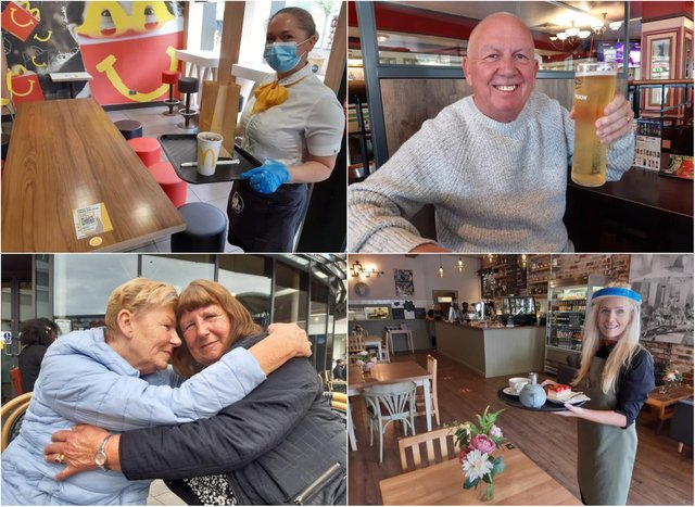 Sunderland was buzzing with people meeting loved ones inside. (clockwise) (top left) Manager of McDonald's Louise Nash. Jon Hutchinson enjoying a pint. Manager of the Keel Lounge Sharon Downey. Sisters Pat Dewar and Ann Graham having a coffee.