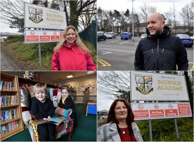 Pupils at Fatfield Academy in Washington have returned to school today. Top left - Mum Lucy Banwell who was dropping her children at school. Top right - Dad Kevin Grimes. Bottom left - Hugo and Esther Grimes (4 and 6-years-old). Bottom right - Headteacher Tracey Pizl.