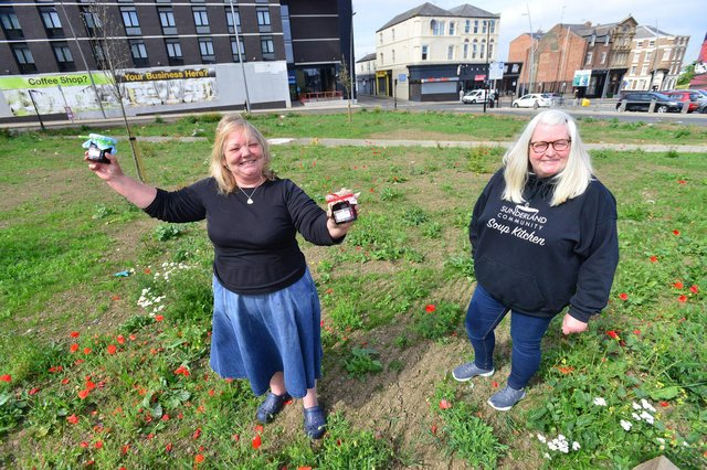 Sunderland Community Soup Kitchen staff Julie Southern and Andrea Bell at the site of the new  market.