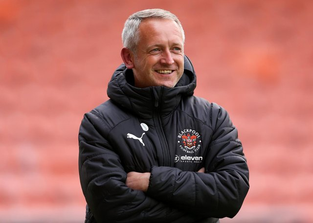 BLACKPOOL, ENGLAND - MAY 04: Neil Critchley, Manager of Blackpool, looks on prior to the Sky Bet League One match between Blackpool and Doncaster Rovers at Bloomfield Road on May 04, 2021 in Blackpool, England. Sporting stadiums around the UK remain under strict restrictions due to the Coronavirus Pandemic as Government social distancing laws prohibit fans inside venues resulting in games being played behind closed doors. (Photo by Charlotte Tattersall/Getty Images)