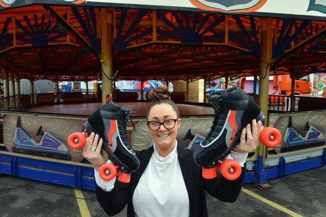 The new roller rink at Rainton Arena with staff member Lauren Ferguson.