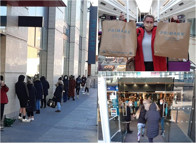Shoppers queued outside Primark for the shops early reopening at 8am on April 12
