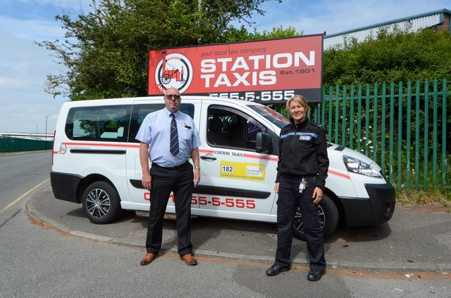 Station Taxis director Jimmy Usher with Sergeant Maria Ord.