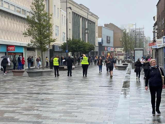 Shoppers out in High Street West today