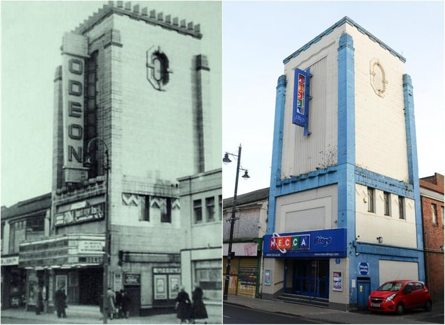 The Mecca Bingo hall, as it is today, and the Odeon cinema back in the day.