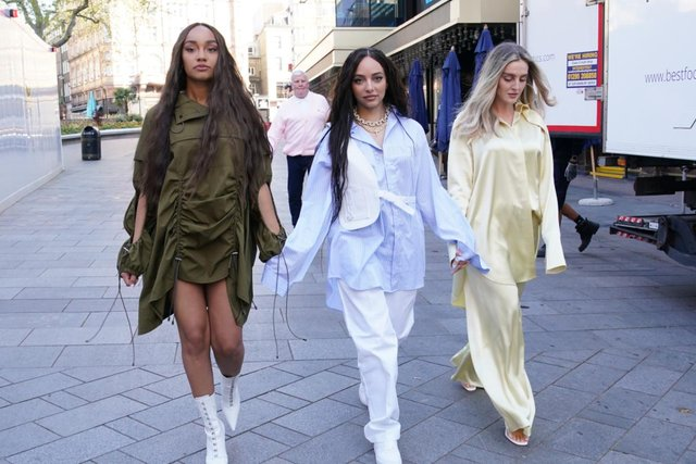 Little Mix, Leigh-Anne Pinnock, Jade Thirlwall and Perrie Edwards, arriving at the studios of Global Radio in London late last month. Photo by PA.