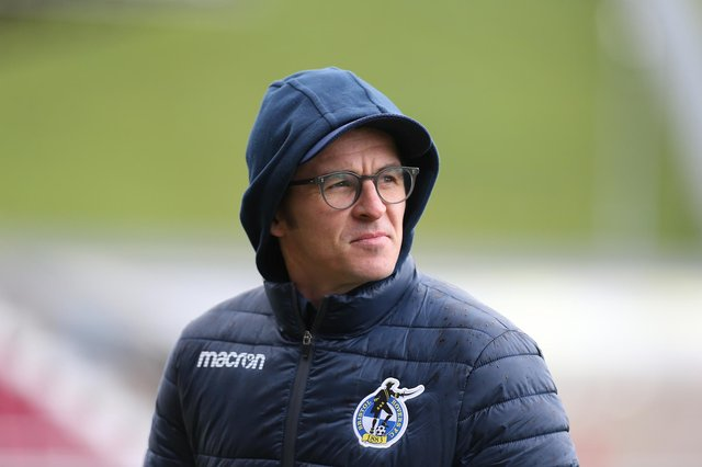 NORTHAMPTON, ENGLAND - APRIL 10:  Bristol Rovers manager Joey Barton looks on prior to the Sky Bet League One match between Northampton Town and Bristol Rovers at PTS Academy Stadium on April 10, 2021 in Northampton, England. (Photo by Pete Norton/Getty Images)