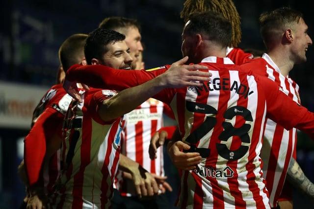 Jordan Jones celebrates his crucial goal at Fratton Park
