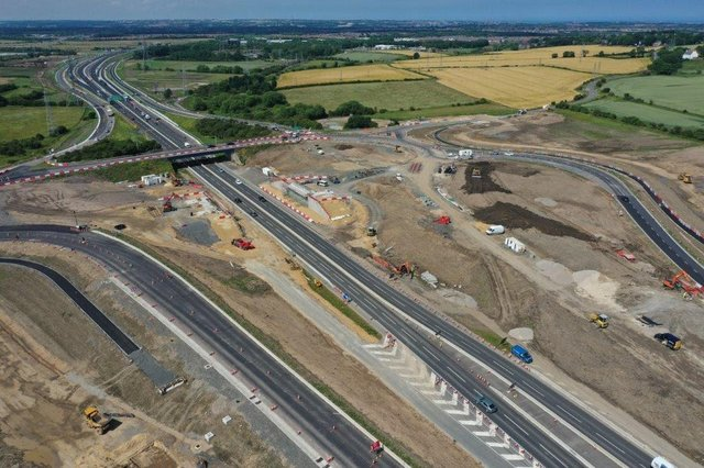 An aerial view of the Downhill Junction work. Pic: Highways England