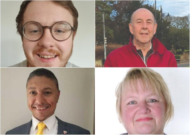 Clockwise from top left: Billy Howells, John Price, Donna Thomas and Carlton West. Raymond Hall Davison did not provide a picture.