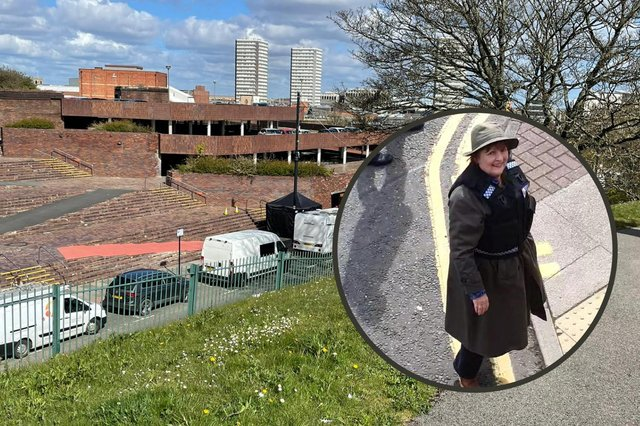 Brenda Blethyn, snapped by Naomi McDonald, as the production crew of Vera used Sunderland Civic Centre's car park as a set.