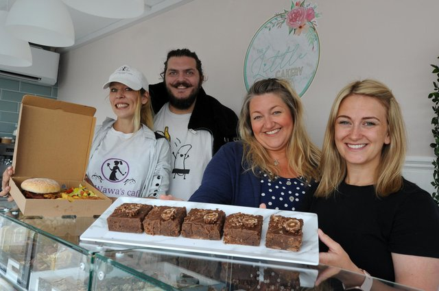 Best Brownie and burger winners Little Cake Shop by the Sea's Kaye Riley and Jessica Everest, and LayWawa's Sarah Howell and Anthony Buckingham.