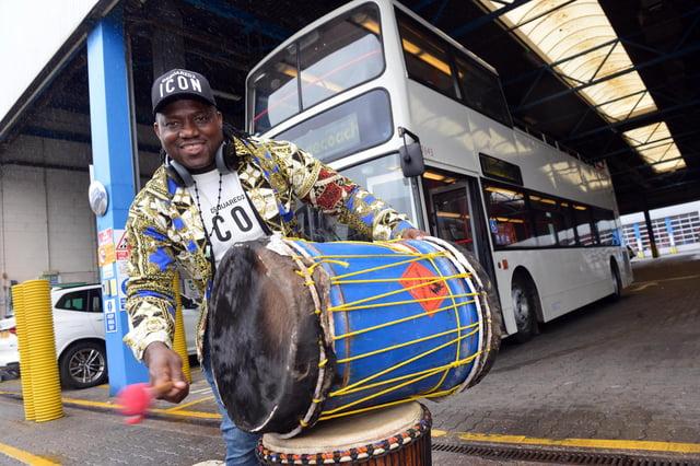 Drumming bus driver Lass Diabate has won a £500 bursary to help run drumming workshops. Picture by Stu Norton.