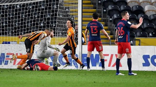 Hull City celebrate their equalising goal at the KCOM Stadium
