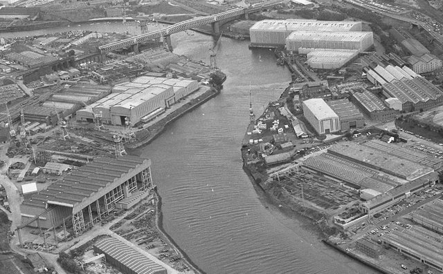 An industrial scene this time. It shows the River Wear and Alexandra Bridge in October 1985.
