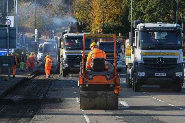 Highways Resurfacing Barnes Gyratory. Picture credit: Sunderland City Council