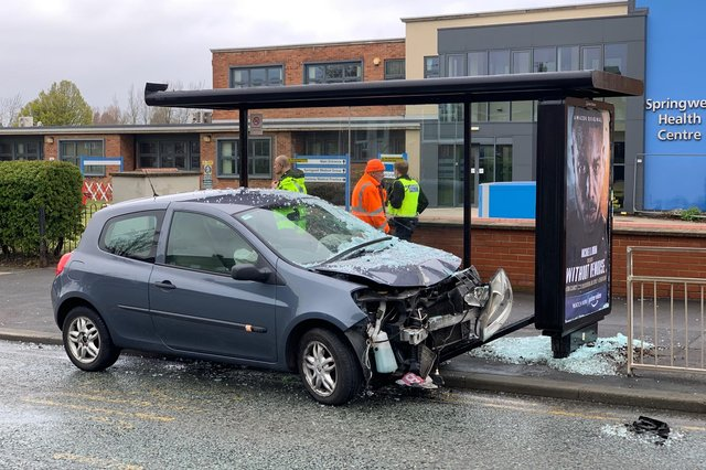 Police and council workers at the scene of the collision on the B1405 Springwell Road on Saturday, May 8.