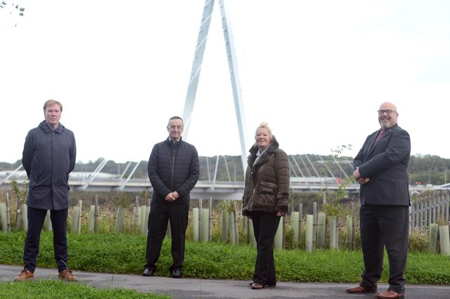 Pictured from left to right are Sunderland Echo Head of Content Gary Oliver,  awards correspondent Chris Cordner and organiser Lynn Wild with Sunderland Council leader Coun Graeme Miller.
