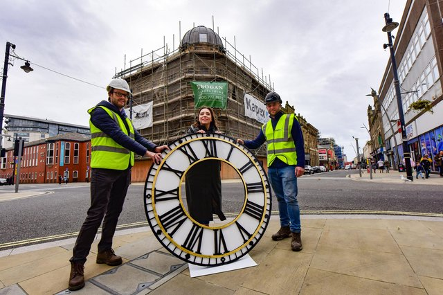 Sunderland City Councillor Rebecca Atkinson (centre) with Mackies Corner Principal Conservation Office Mark Taylor (left) and site manager David Tait (right and one of the new clock faces.