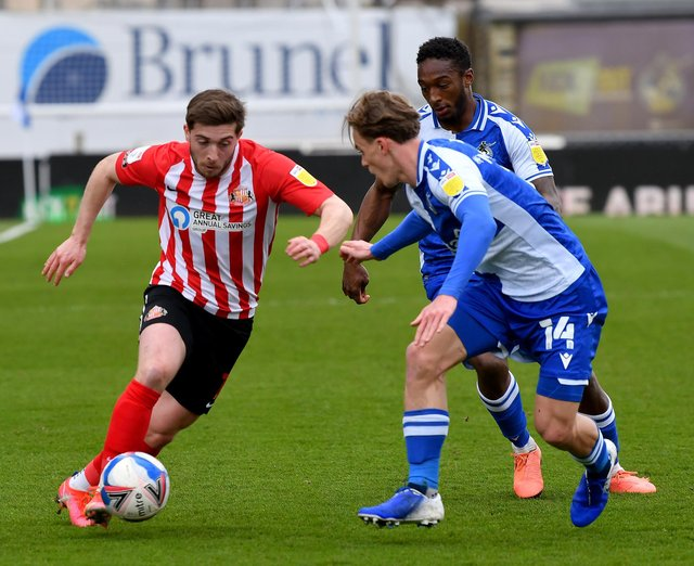 Lynden Gooch in action for Sunderland against Bristol Rovers.