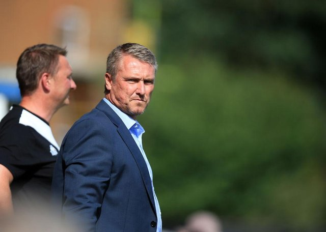 Lee Clark manager of Bury during the pre season friendly game against Huddersfield Town at Gigg Lane on July 16, 2017 in Bury, England. (Photo by Clint Hughes/Getty Images)