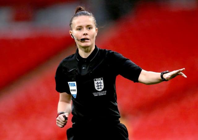 Referee Rebecca Welch.