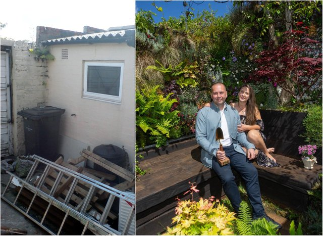 Gary McLaughlan, a firefighter from Cleadon transformed his garden from bland concrete walls to a stunning green space over