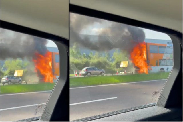 The rear of the bus on fire on the A1M in Washington. Pic and video credit: Ozay Yildirim