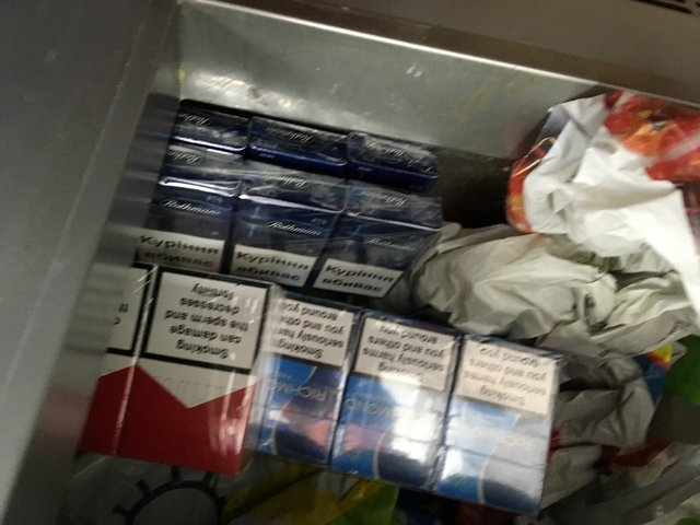 A photo taken by Sunderland City Council as it seized illegal cigarettes and tobacco during checks on city stores.