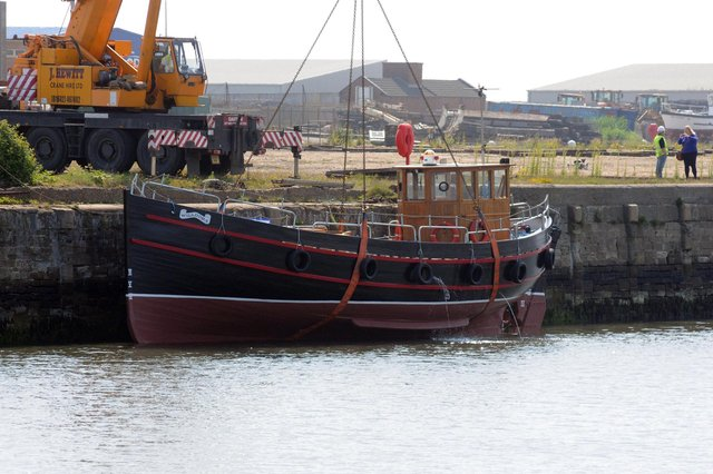 Dunkirk Little Ship, The Willdora being moved into the River Wear in 2018.