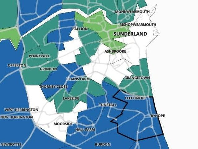 Here are the 10 Sunderland areas with the highest Covid cases