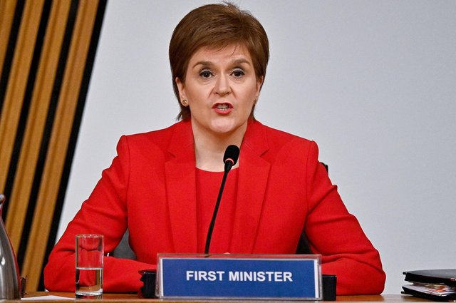 First Minister Nicola Sturgeon gives evidence to a Scottish Parliament committee examining the handling of harassment allegations against former first minister Alex Salmond on March 3, 2021 in Edinburgh, Scotland.