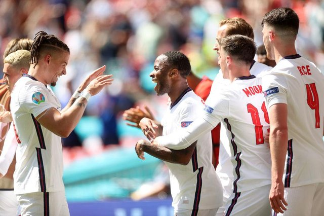 Raheem Sterling of England celebrates with Kalvin Phillips after scoring their side's first goal during the UEFA Euro 2020 Championship Group D match between England and Croatia at Wembley Stadium on June 13, 2021 in London, England.
