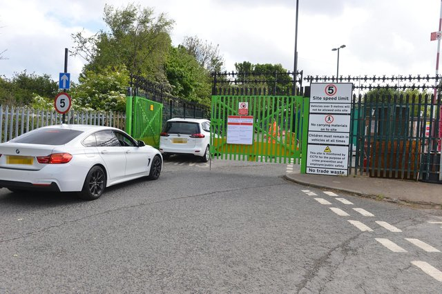 Traffic queues at the Sunderland Household Waste Reception and Recycling Centre on Beach Street