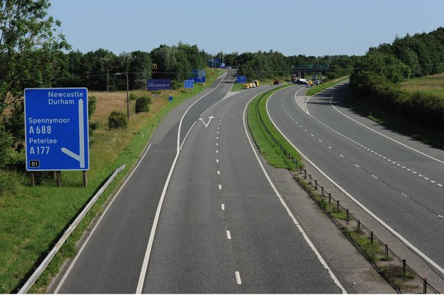 The A1(M) near Durham, which remains closed to traffic following a horrific crash last night involving several vehicles, on the motorway at Bowburn, near Coxhoe.
