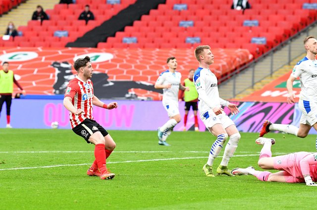 Lynden Gooch scores against Tranmere Rovers at Wembley