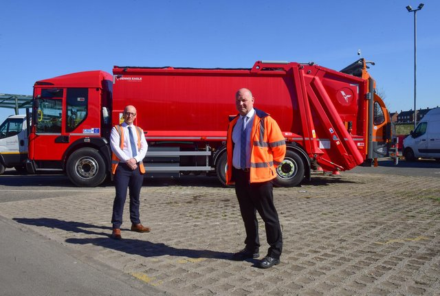 Peter Metcalfe, left, Fleet Management & Compliance Manager and Ian Bell, Fleet Manager, with Sunderland City Council's new Electric Refuse Collection Vehicle.